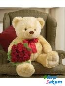 Большой медведь + 9 роз . Доставка по Киеву и Украине