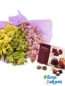 3 ветки орхидей + конфеты . Доставка по Киеву и Украине