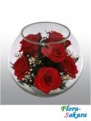 Натуральные розы в стекле BMR . Доставка по Киеву и Украине