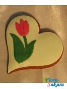 Пряник Сердце-тюльпан . Доставка по Киеву и Украине