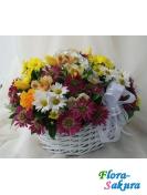 Корзинка цветов Солнечный день . Доставка по Киеву и Украине