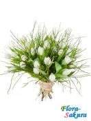 Букет белых тюльпанов Кисс . Доставка по Киеву и Украине