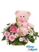 Корзина цветов и розовый мишка . Доставка по Киеву и Украине