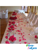 Лепестки роз, украшение стола . Доставка по Киеву и Украине