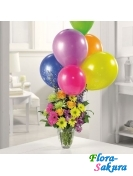 Букет цветов и шарики . Доставка по Киеву и Украине