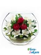Композиция роз и орхидей ЕММ-05 . Доставка по Киеву и Украине