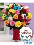 25 роз + 3 бабочки декор . Доставка по Киеву и Украине