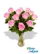 11 розовых роз . Доставка по Киеву и Украине