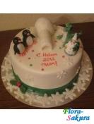 Новогодний торт Пингвины . Доставка по Киеву и Украине