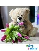 Мишка с тюльпанами . Доставка по Киеву и Украине