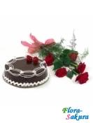 5 роз и торт . Доставка по Киеву и Украине