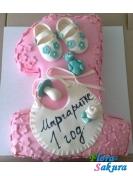 Детский торт 1 год Розовый . Доставка по Киеву и Украине
