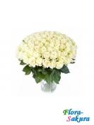 101 белая роза 50см . Доставка по Киеву и Украине