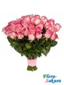 101 роза розовая 50см . Доставка по Киеву и Украине