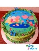 Детский торт Свинка Пеппа-5 . Доставка по Киеву и Украине