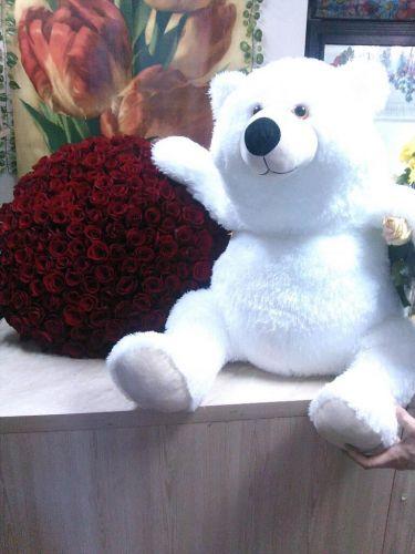 151 роза + мишка метровый. Доставка по Киеву и Украине