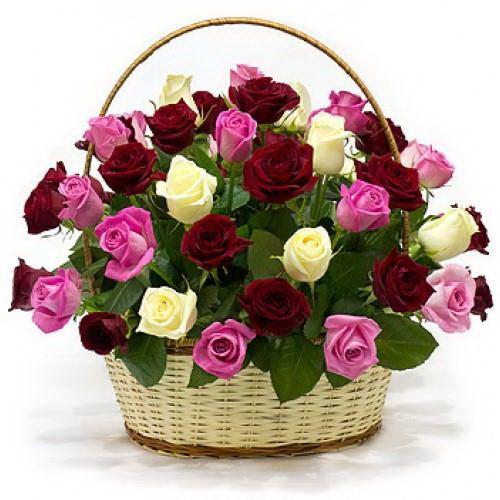 Картинки корзина с цветами